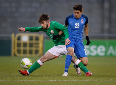 Ireland's Ryan Manning with Hajiaga Hajiyev of Azerbaijan.