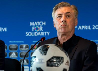 Carlo Ancelotti ahead of the Match For Solidarity in Geneva