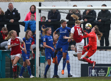 Quinn's header flies past Everton goalkeeper Kirstie Levell in injury time.
