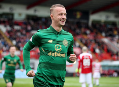Leigh Griffiths celebrates scoring Celtic's second on Sunday.