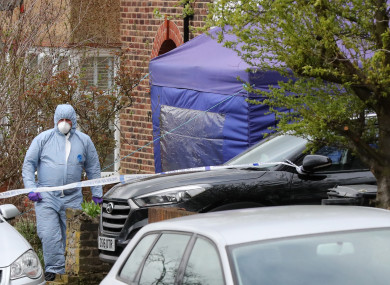Forensic officers at the scene in South Park Crescent in Hither Green, London,