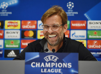 Klopp speaking to the media this afternoon.