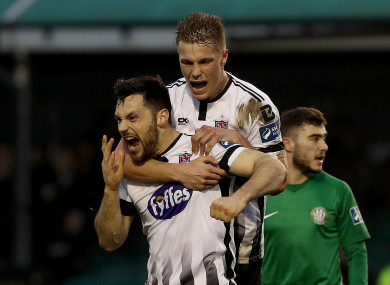 Dundalk's Patrick Hoban celebrates scoring a goal with Daniel Cleary.