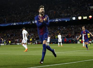 Pique got Barcelona's third.