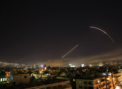 Missiles streak across the Damascus skyline this morning.
