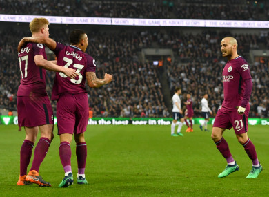 Manchester City's Gabriel Jesus (centre) celebrates scoring his side's first goal of the game.