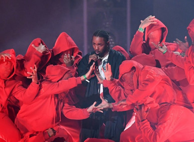 Kendrick Lamar performs during the 60th Annual Grammy Awards show on January 28, 2018.