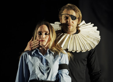 Anna Sheils McNamee and  Conor Madden in Pan Pan's The Rehearsal, Playing the Dane at the Abbey Theatre.