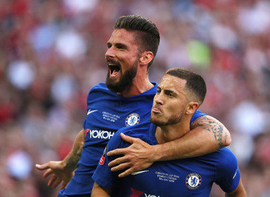 Olivier Giroud and Eden Hazard celebrate taking the lead.