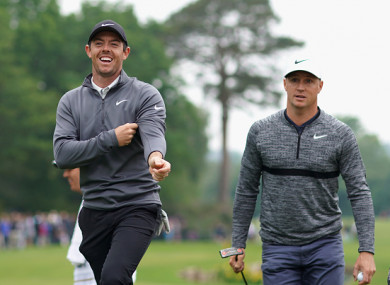 Rory McIlroy and Alex Noren during the second round of the BMW PGA Championship.