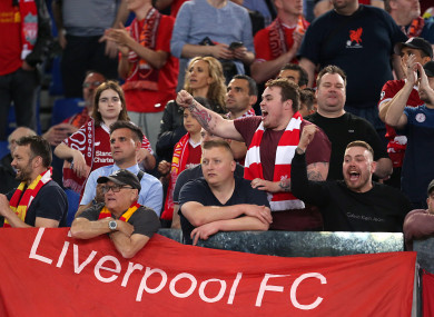 Some Liverpool fans during the second leg of their Champions League semi-final.