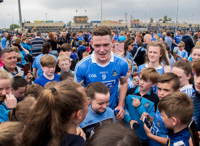 Dublin's Brian Fenton with fans after the game.