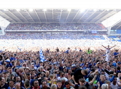 Cardiff City fans flood the pitch to celebrate their promotion to the Premier League.