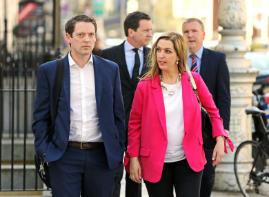 Vicky Phelan at Leinster House with Stephen Teap, whose wife died before she was told that her smear test had been wrongly interpreted.