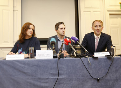 Dr Rhona Mahony, Minister for Health Simon Harris and Professor Fergal Malone speaking today.