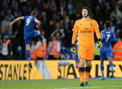 Petr Čech dejected after Jamie Vardy's penalty in the second half.