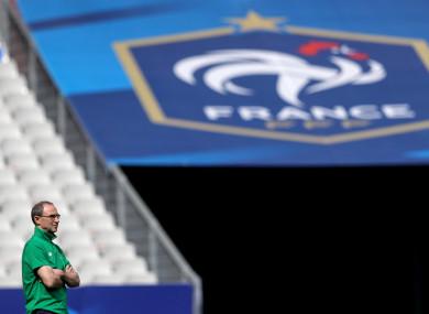 Martin O'Neill at the Stade de France yesterday.