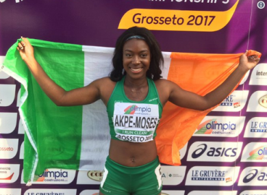 Ireland's Gina Akpe-Moses celebrates after winning a gold medal at the European U20 Championships last summer.