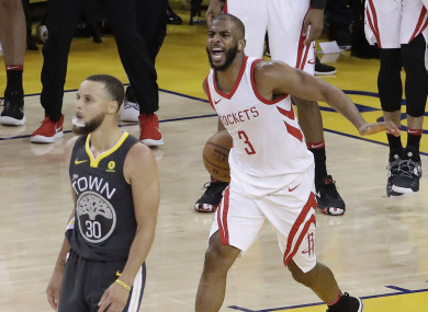 Chris Paul celebrates as the Rockets pull off a surprise win.