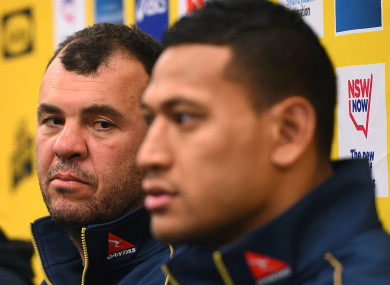 Cheika and Folau speak to the media (file).