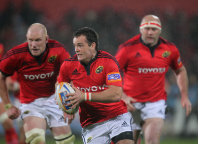 Deasy in action for Munster against Aironi in 2011.