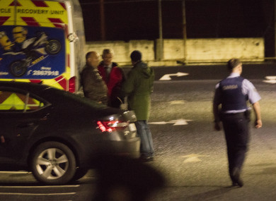 Gardai at the scene in Cherrywood Business Park on Sunday.