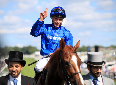 William Buick on Masar celebrates winning the Investec Derby.