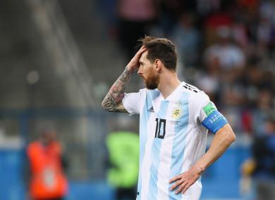 Lionel Messi dejected.