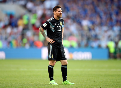 Lionel Messi pictured during today's game.