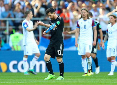 Argentina's Lionel Messi appears dejected after the final whistle.
