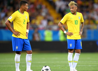 Brazil duo Thiago Silva and Neymar.