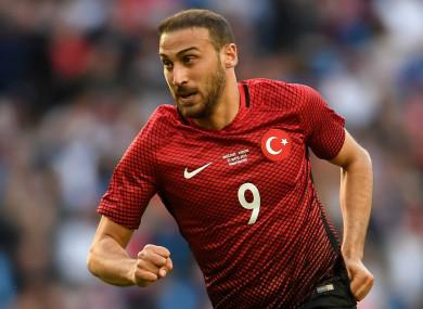 Everton striker Cenk Tosun playing for Turkey.