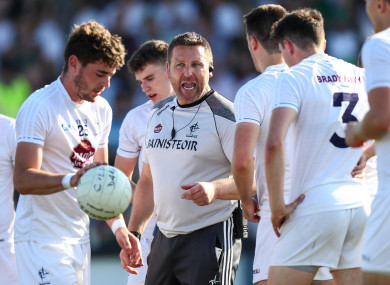 Cian O'Neill with his Kildare players before the game.