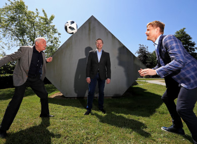 Eamon Dunphy, Darragh Maloney and Damien Duff pictured at RTÉ's launch of their 2018 World Cup coverage yesterday.