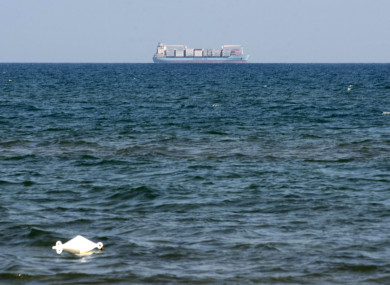 The Alexander Maersk merchant vessel, believed to be carrying over 100 migrants rescued at sea, last week.