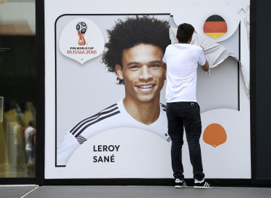 A picture showing Leroy Sane taken off the wall of the German soccer museum in Dortmund after he was omitted from the national team's 2018 World Cup squad.