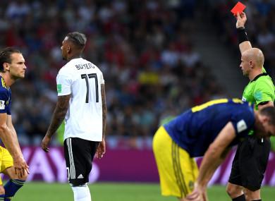 Germany defender Jerome Boateng is dismissed.