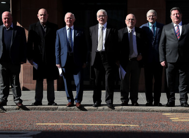 Seven of the Hooded Men, who were kept in hoods interned in Northern Ireland in 1971, (from left) Jim Auld, Patrick McNally, Liam Shannon, Francie McGuigan, Davy Rodgers, Brian Turley and Joe Clarke, following a press conference at KRW Law in Belfast.