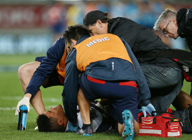 Uelese: injured in Melbourne Rebels' win over the Blues.