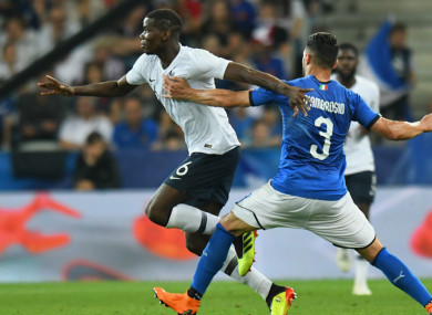 Paul Pogba in action for France against Italy