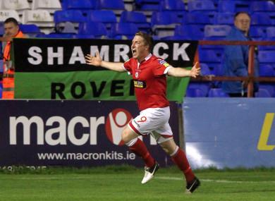 Philip Hughes celebrates scoring.