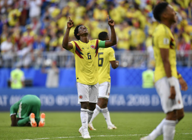 Carlos Sanchez celebrates after Colombia's win over Senegal.