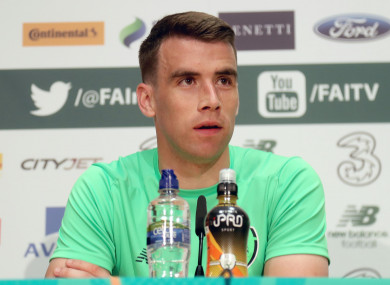 Seamus Coleman faces the press yesterday.