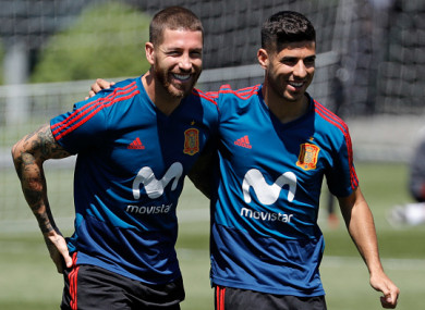 Ramos and Marco Asensio during training in Krasnodar.