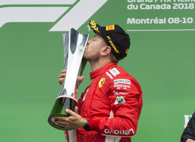 Vettel with his trophy.
