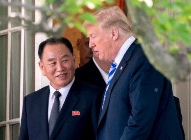 US President Donald Trump and Kim Yong Chol, one of leader Kim Jong-un's closest aides, at the White House today.