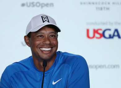 Woods speaking at a press conference earlier.