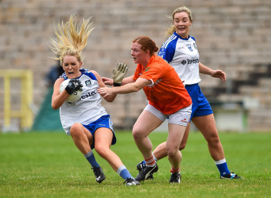 Eimear McAnespie of Monaghan tussles with Caoimhe Morgan of Armagh ar St Tiernach's Park, in Clones today.