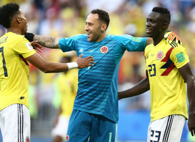 Colombia players Johan Mojica, David Ospina and Davinson Sanchez