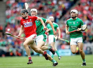Darragh Fitzgibbon in action for the Cork hurlers yesterday.